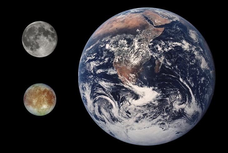 Сравнение размеров земли луны и европы